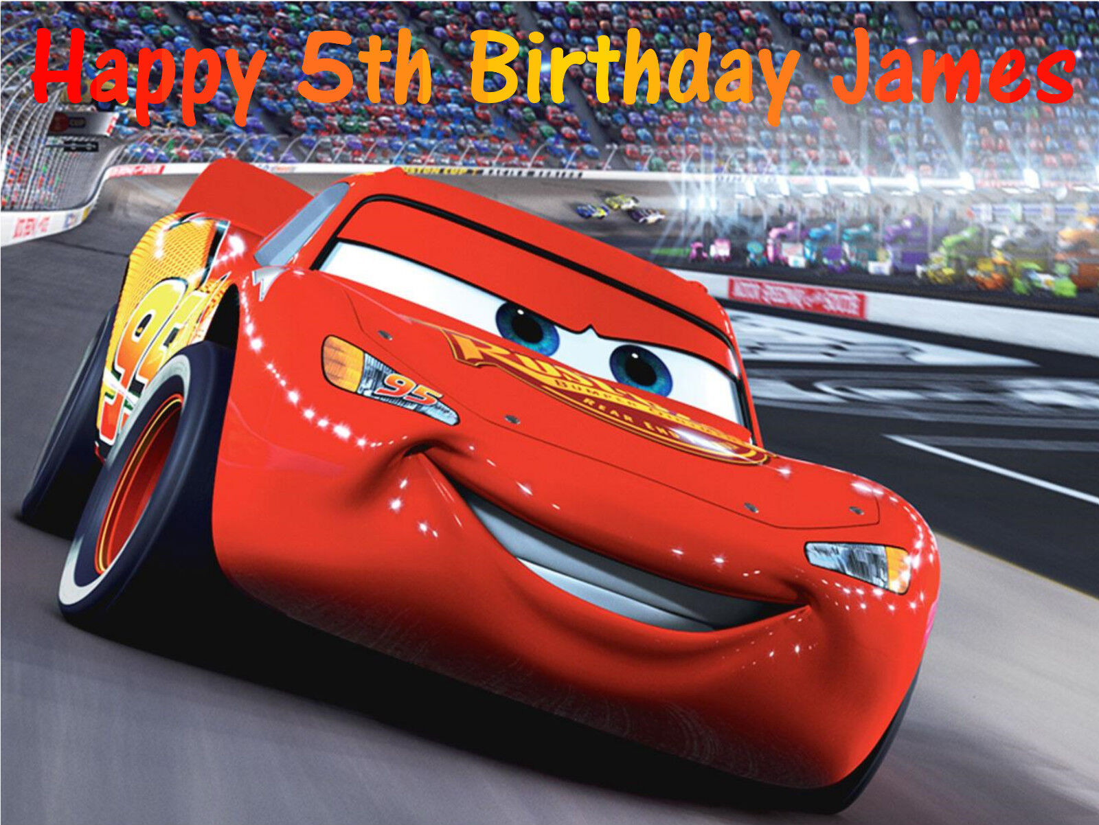 Awe Inspiring Disney Cars Lightning Mcqueen A4 Edible Birthday Cake Topper Funny Birthday Cards Online Alyptdamsfinfo