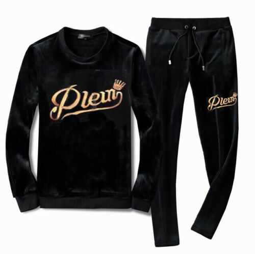 Men Velvet TrackSuit Sport Jacket Top Sweats Suit Trousers Velours Set
