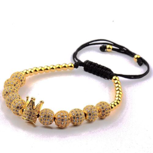 Luxe Zircon Cubique Polygon Bille Couronne Charme Cuivre Perles MACRAME Fait Main Homme bracelets