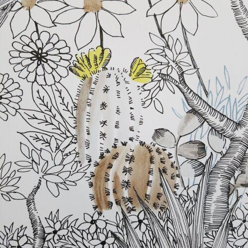 York Outdoors Flowering Desert Cactus Boho Kids Nursery Gray Pink  Wallpaper