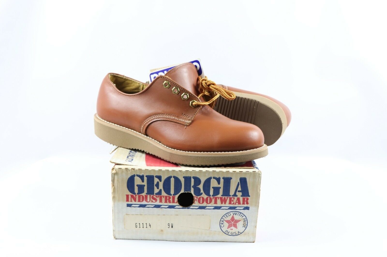 Vintage New Georgia Mens 9 W Steel Toe Cambrelle Leather Oxford Work shoes Brown