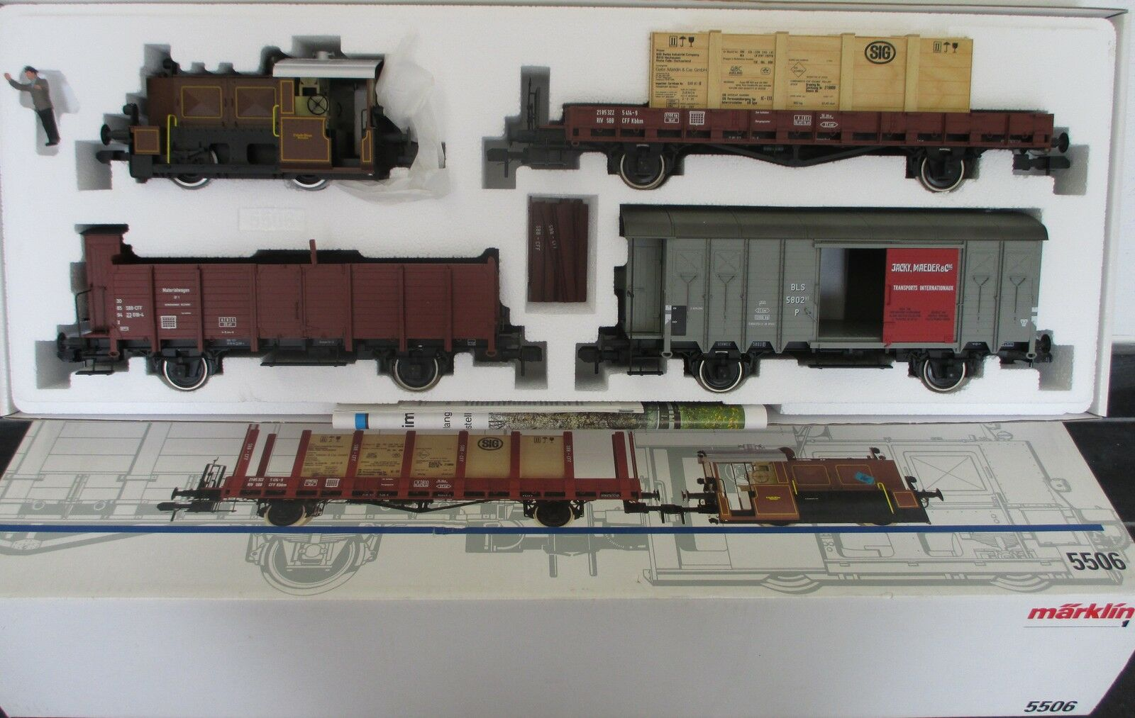 Märklin 5506 1 Gauge Freight Train Set Steam Locomotive Wagon Mip