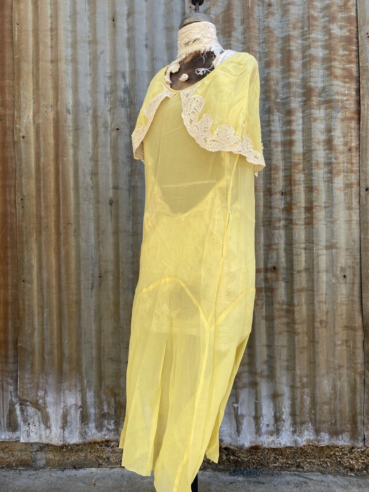 Antique 1920s 1930s Yellow Silk Chiffon Midi Dres… - image 12