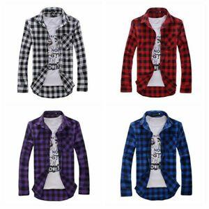 Men-Check-Long-Sleeve-Shirt-Plaid-Button-Down-Top-Blouse-Pocket-Lumberjack-Basic