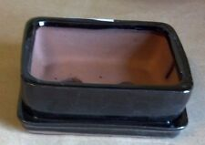 """Lovely Bonsai Pot & Attached Saucer,  Small, 4"""" long, NEW, Black"""