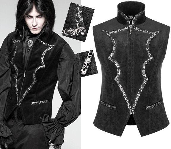 Gilet veste cintré gothique dandy baroque velours jacquard argent PunkRave homme