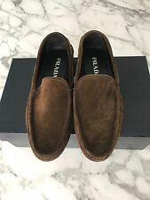 PRADA Moc Toe Leather driving loafer 7.5 US Brown Suede