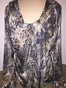 Womens-PECK-amp-PECK-Weekend-Long-Sleeve-Scoop-Neck-Leopard-Knit-Top-Shirt-Size-XL