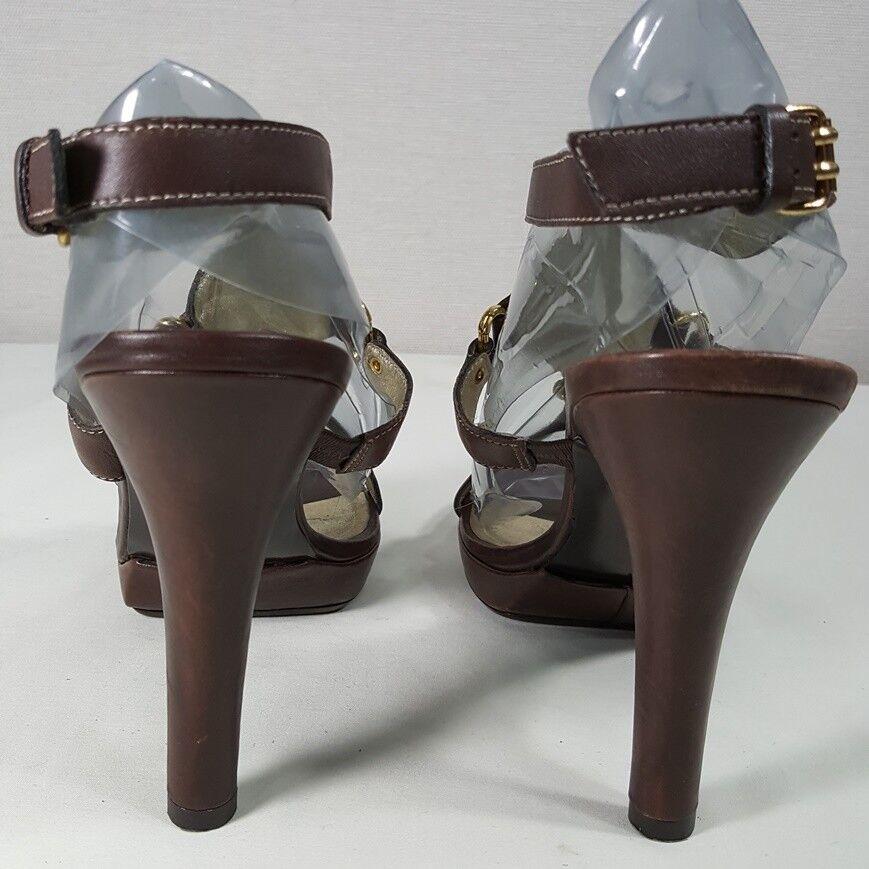 Pelle Moda Ankle Strap Sz Faux 9 1/2 Heels Leder Faux Sz Turquoise & Metal Embellished a1cc59