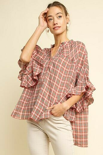 OVERSIZED BLUHEAVEN by UMGEE PINK PLAID Button Ruffle Blouse/Top/shirt  BHCS