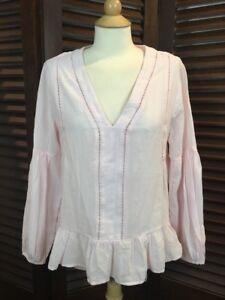 Gap-Women-039-s-Light-Pink-Eyelet-Peasant-Blouse-Top-100-Cotton-V-Neck-Size-Medium