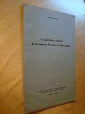 Paoli L'assentiment paternel au mariage du fils dans le droit attique 1952 Envoi