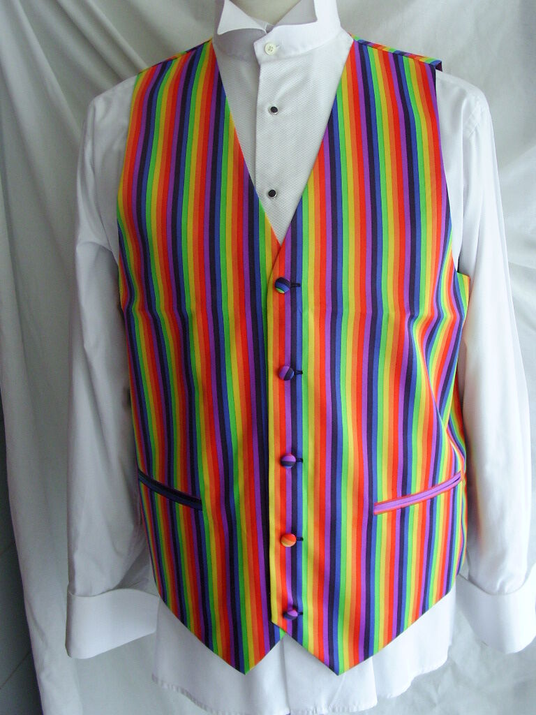 RAINBOW Mens Waistcoat-6XL-52 With Without Bow tie and Hankie  P&P 2UK 1st Class
