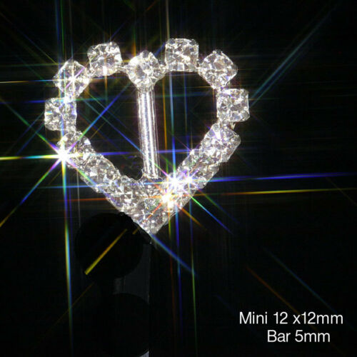 MINI HEART RHINESTONE DIAMANTE SILVER RIBBON SLIDER BUCKLE VERTICAL BAR app 13mm