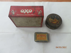 3 x VINTAGE TINS - OXO - HALVA LALUNE - BENOIDS