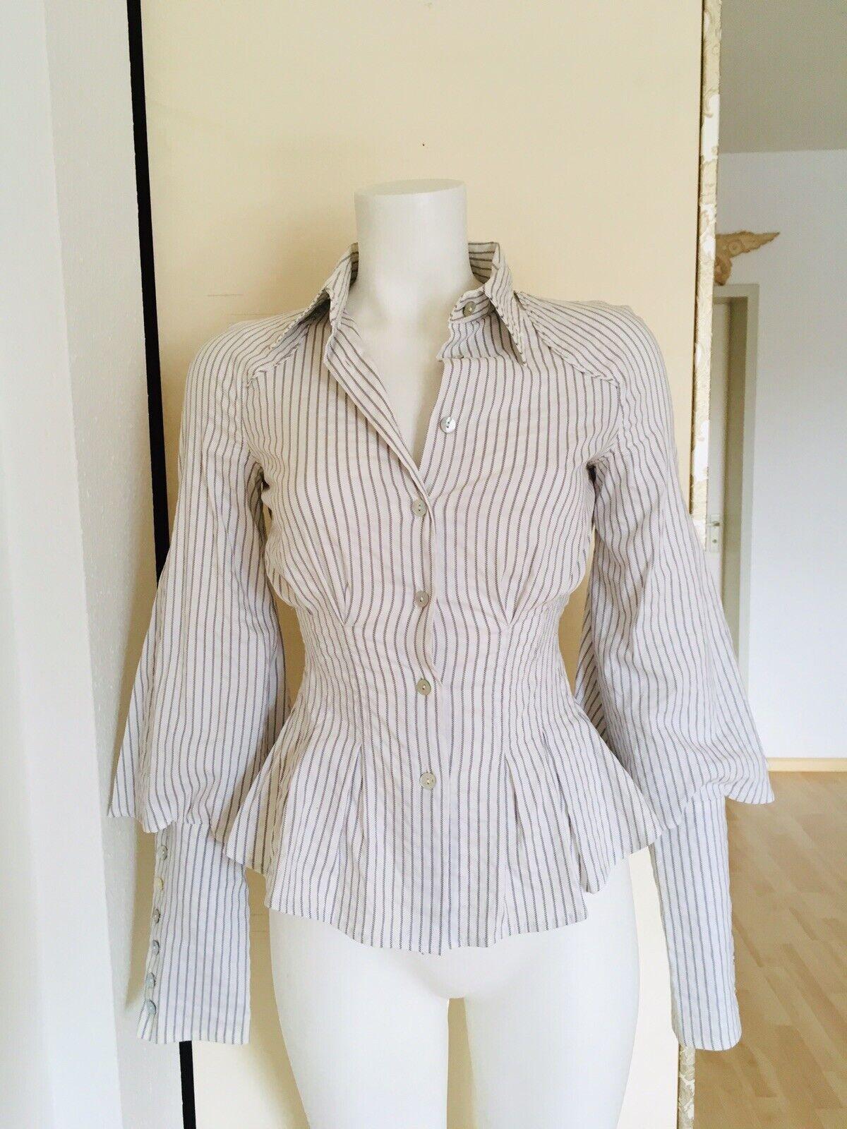 Designer Blause Weiß Streifen Tailliert Schößchen Puffärmel Gr. 34  36 S Vintage