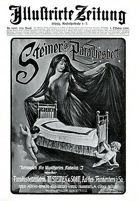 Steiner Pardise Bed Xl 1908 Ad Angel Lady In Black Female Nude Transparent Dress 1900-09