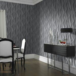 Boutique Tango Charcoal Silver Wallpaper Ebay