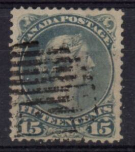 Canada-Sc-30-1868-15c-gray-Large-Queen-Victoria-stamp-used