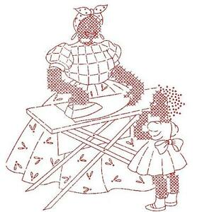 Details about Vintage Embroidery Transfer rep 159 African American Woman  doing Chores Mammy