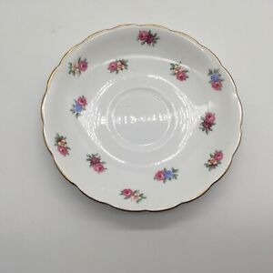 Colclough-Bone-China-Saucer-Cabbage-Rose-and-Floral-Made-in-England