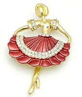 Designer Ladies Womens Luxurious Ballet Dancing Girl Diamante Stone Brooch Pin