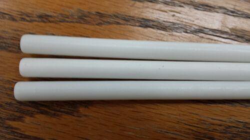 "nominal Polyethylene 5//16/"" x 12/"" Round Rod White extruded Plastic Lot of 3"