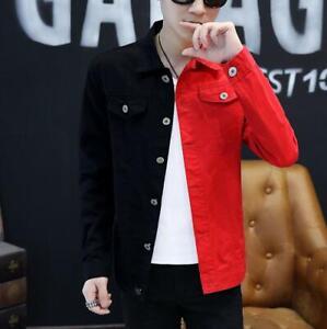 Men-Denim-Jeans-Jacket-Baseball-Coat-Slim-Casual-Outwear-Long-Sleeve-Mixed-Color