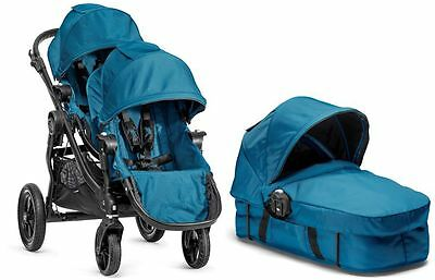 Baby Jogger City Select Twin Double Stroller Teal with Second Seat and Bassinet