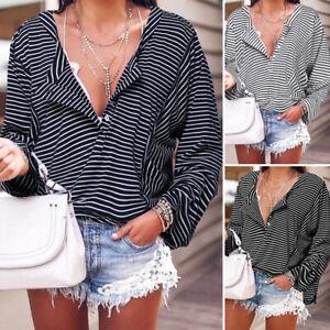 ZANZEA-Femme-Shirt-Manche-Longue-Bande-Casual-en-vrac-Boutons-Haut-Tops-Plus