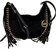 MICHAEL KORS RHEA GROMMET BLACK SUEDE,GOLD STUDS,FRINGES,SLOUCHY SHOULDER BAG