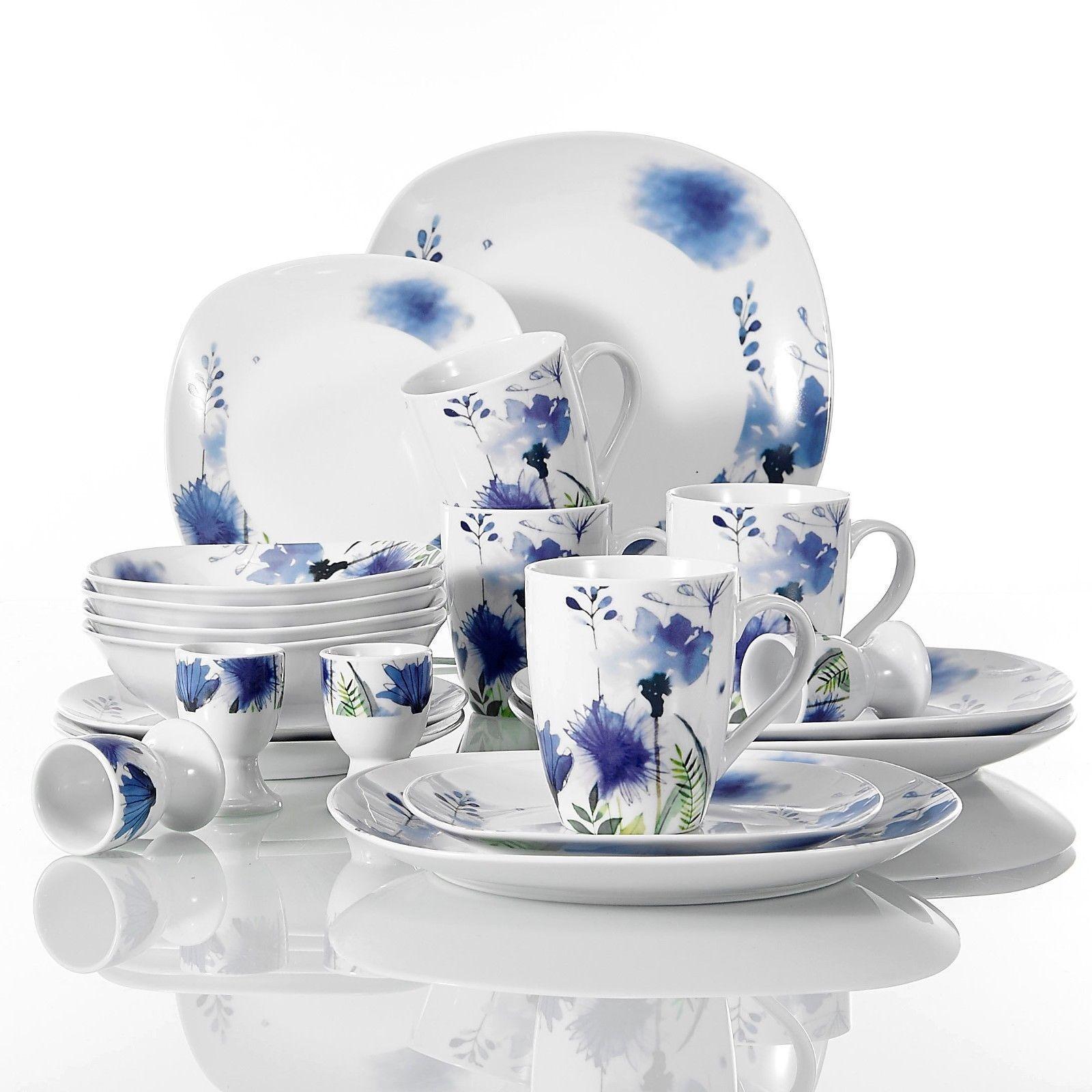 Set da cena 20Pc in ceramica stoviglie stoviglie stoviglie Sala da Pranzo Festa Floreale Blu