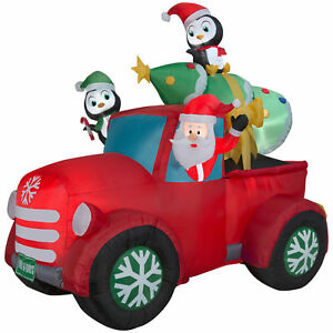 holiday airblown 8ft retro truck santa w tree inflatable christmas yard decor
