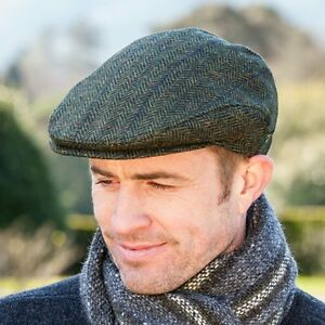 Donegal Tweed Cap Green Made In Ireland By Mucros