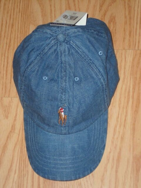 Polo Ralph Lauren Blue Chambray Denim Adjustable Dad Hat One Size ... 18267b965f50