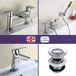 Bathroom-Chrome-Luxury-Waterfall-Basin-Sink-Mono-Round-Bath-Filler-Mixer-Tap