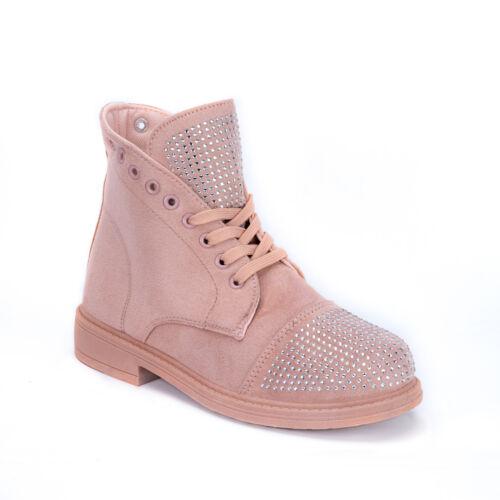 Femmes Bottes Chaussure Lacée Plat Strass Chaussures Basses Bottines Rose gf170