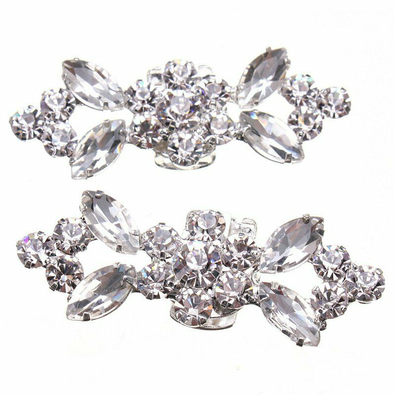 2X(1Pair Rhinestone Crystal Wedding Bridal Diamante Crystal Shoe Clips S5Q1) z1
