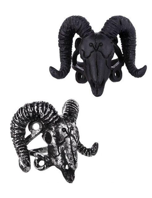 Restyle Ring Widder Loki Hörner Horns Occult Ram Skull Satanic Gothic Steampunk