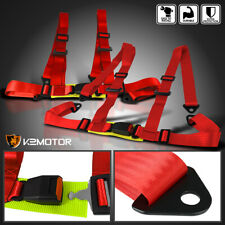 2x Red 4 Point Harness Racing Seat Belts Snap In Buckle Heavy Duty Nylon Strap