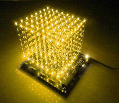 3D Squared DIY Kit 8x8x8 3mm LED Cube White LED Blue//Red Light PCB Board