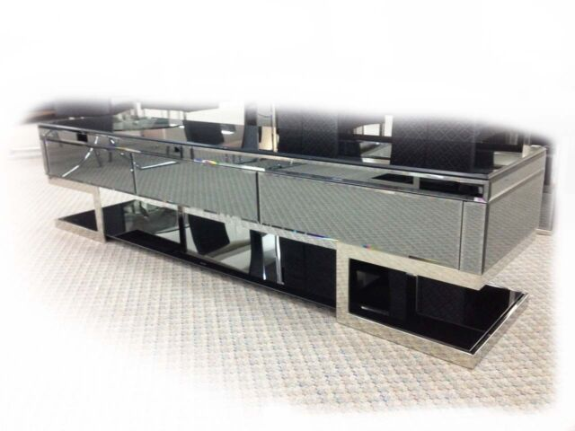 Lola 2000 Mirrored Black 3 Drawer Lowline TV Unit - BRAND NEW