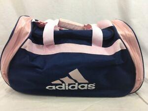 0ff6ddfb60c2 Vintage Adidas Gym Shoulder Duffle Bag Blue Pink Sport Athletic ...