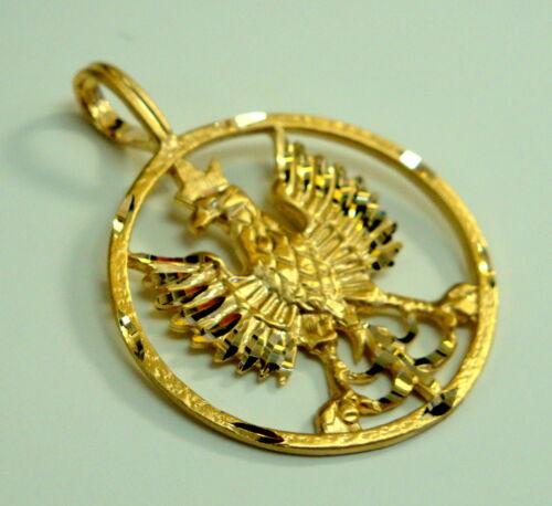 Brand New 14K Or Jaune Polonais Eagle symboles dans cercle Charme Pendentif
