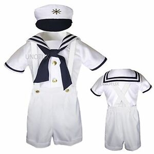 31242a86f5bd Infant Toddler Boy White Satin Sailor Wedding Party Outfit Suit ...