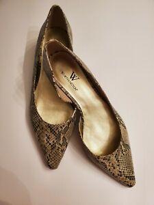 Worthington-Women-039-s-Natural-Snake-D-039-Orsays-Kitten-Heel-Shoes-Size-6M