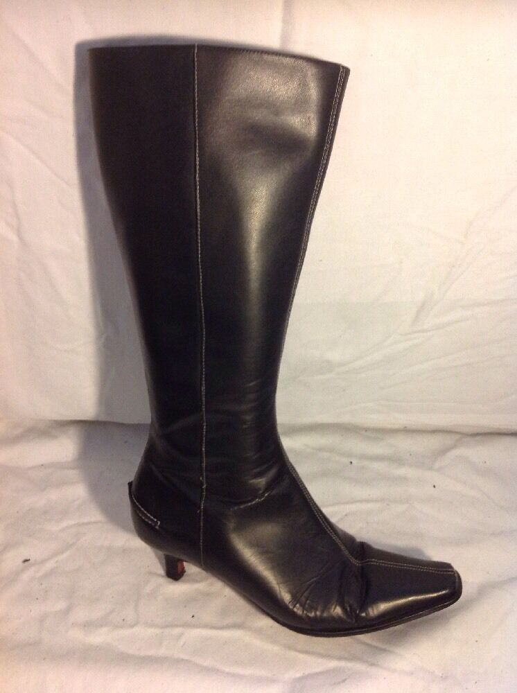 Marks&Spencer Black Knee High Leather Boots Size 5