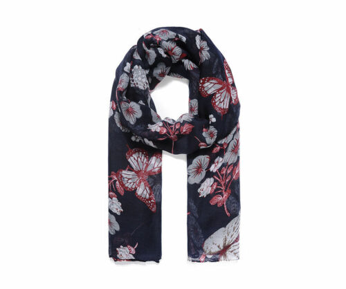 Navy Butterfly and Floral Print Scarf Ladies New Birthday Present Christmas Gift