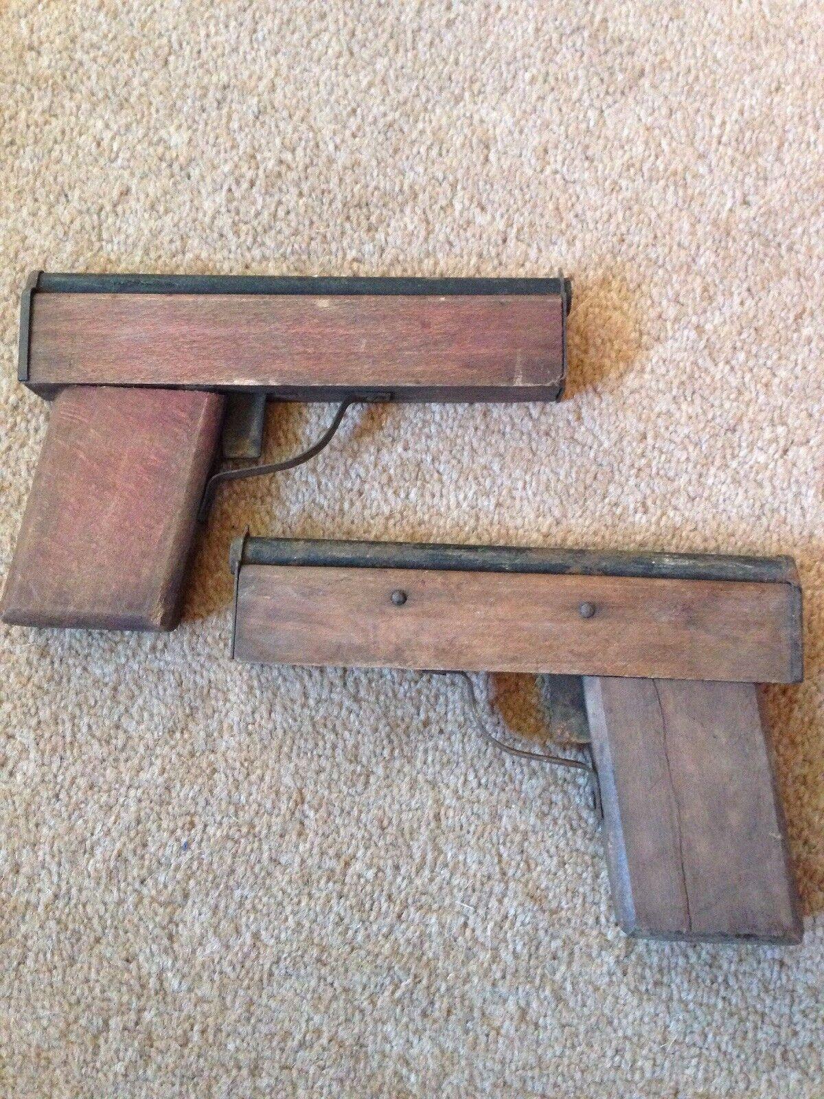 Vintage French Pair Wood & Metal Toy Guns