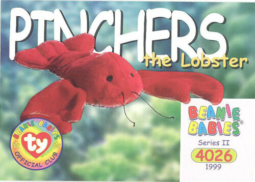 Series 2 Common NM//Mint PINCHERS the Lobster TY Beanie Babies BBOC Card